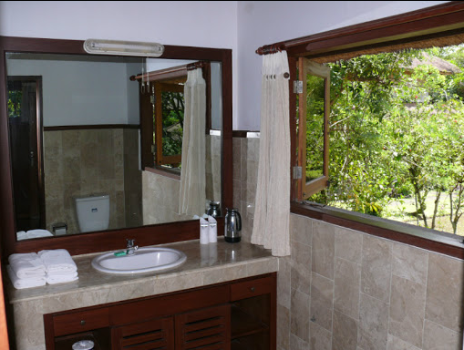 bathroom in room for yoga retreat