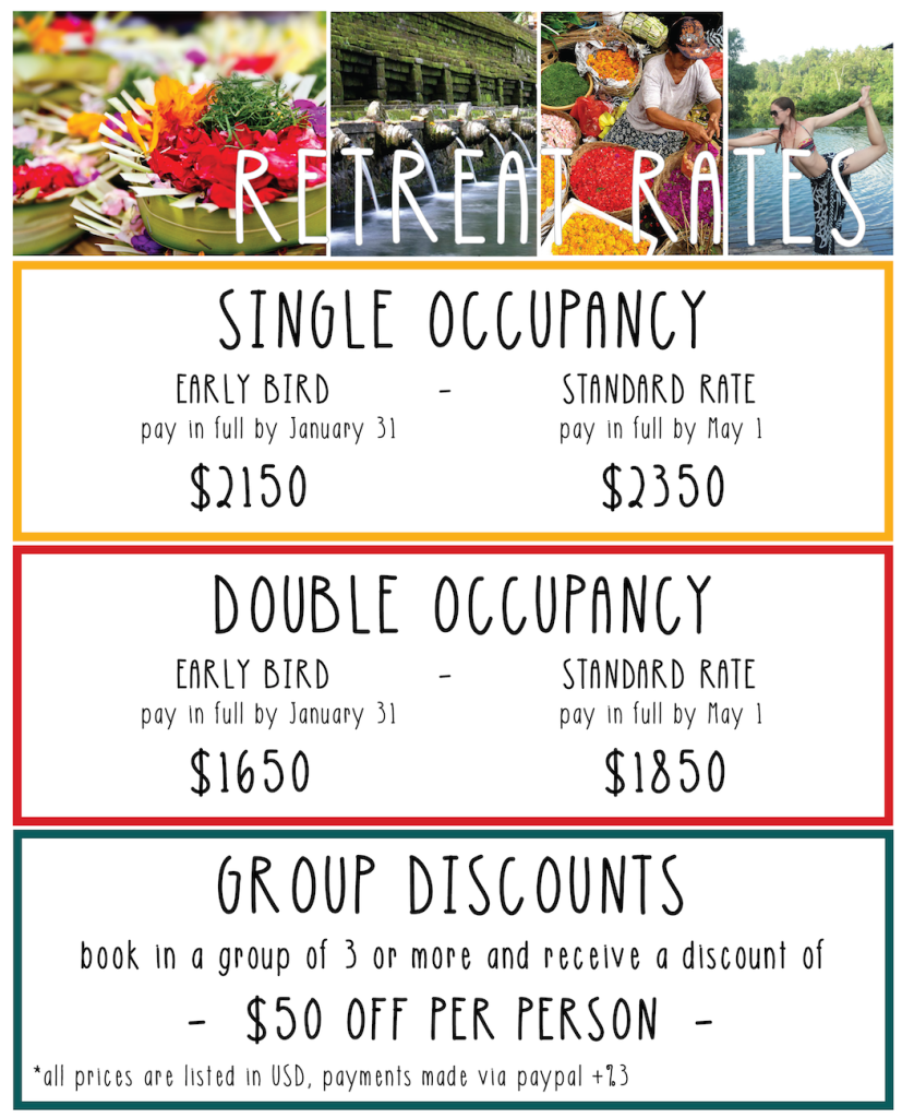 Ubud Retreat Pricing