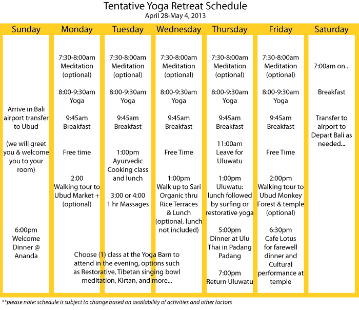 tentative yoga schedule for yoga retreat