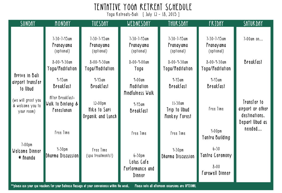 Tentative Retreat Schedule